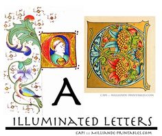 Illuminated Manuscript Letters A, Free Printable Illuminated Letters Inspiration for Type Designers, Lettering Artists, Typography and Art Journal Lettering , Medieval Illuminated Letters