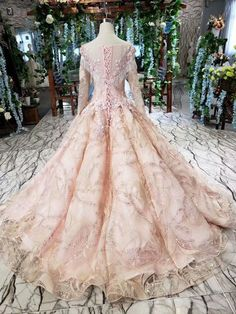 Ostty Long Sleeve Pink Wedding Gowns Sweet 16 Party Dress OS0339 Pink Wedding Gowns, Wedding Gowns With Sleeves, Pink Gowns, Long Sleeve Wedding, Dresses With Sleeves, Ball Dresses, Ball Gowns, Prom Dresses, Sweet 16 Parties