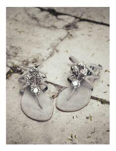 Rhinestones on Grey Sandels