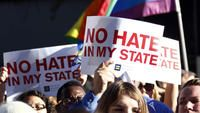 Groups rally in Mississippi to call for veto of religious objections bill signed today by Governor