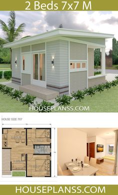 Small House Design Plans with 2 Bedrooms Full PlansThe House has:One-story house, 2 bedrooms, 1 bathroom, living room Kitchen, Dinning room Modern Small House Design, Contemporary House Plans, Modern House Plans, Tiny House Design, Plan Chalet, Small Bungalow, 2 Bedroom House Plans, Small House Floor Plans, Home Design Plans