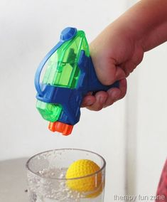 Squirt guns are good for working on finger strengthening, and they are fun too. A game that is fun to play with squirt guns uses a cup, water, squirt gun, and a ping pong ball. In this game, you fill the cup up most of the way with water and put the ping pong ball …