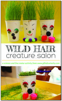 """Grow your own """"wild hair"""" creatures and give them """"haircuts."""" This engaging activity reinforces fine motor skills and doubles as a science activity! Preschool Garden, Preschool Art Projects, Preschool Crafts, Projects For Kids, Classroom Art Projects, Cutting Activities, Science Activities For Kids, Spring Activities, Science Art"""