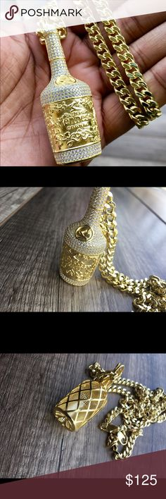 14k Gold Dipped Hennessy Bottle Pendant Chain Brand new never worn before. Men's Link Gold Chain set. 14k Gold dipped over genuine 925 silver. 30 inch chain. Dazzling simulated lab diamonds. Definitely a head turner! Accessories Jewelry