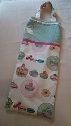 Bolsa para el pan, estampado de Cupcakes y Vichy verde.