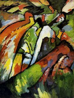 Reproduction de Kandinsky, Improvisation 7. Tableau peint à la main dans nos ateliers. Peinture à l'huile sur toile.