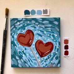 Lollipop - Acrylic painting on a 20 × canvas, finished with a shiny acrylic varnish❤️ Acrylic painti - Small Canvas Paintings, Small Canvas Art, Cute Paintings, Mini Canvas Art, Simple Acrylic Paintings, Acrylic Art, Empty Canvas, Painting Canvas, Arte Sketchbook