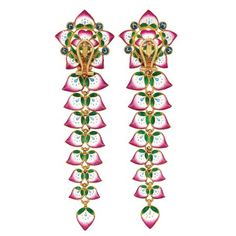Pair of Indian High Karat Gold, Ruby, Diamond and Enamel Earrings-In. Photo: Courtesy of Doyle New York