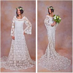 70s Style Lace Bohemian Wedding Dress Ivory or White Crochet Lace Boho... (7.700 DKK) ❤ liked on Polyvore featuring dresses, black, women's clothing, long lace dress, white bohemian dress, long sleeve dresses, lace-sleeve dress and winter white dress