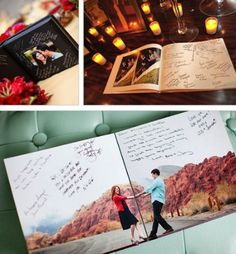 Use the engagement photos for the guestbook!--- I need to decide on a guestbook and this is a good idea...