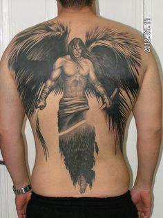 100 Best Angel Tattoos for Men and Women : Angel Back Tattoo For Men Tattoos Arm Mann, Body Art Tattoos, New Tattoos, Girl Tattoos, Sleeve Tattoos, Tatoos, 100 Tattoo, Symbol Tattoos, Angel Back Tattoo