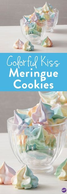Colorful Kiss Meringue Cookie Recipe - Add a touch of color to your dessert table with these bright and colorful meringue cookies! Tinted batter helps add color and style to these sweet meringue cookies, and a large Wilton 1M decorating tip helps give these cookies their iconic shape. One batch of this easy meringue recipe makes quite a few cookies, so this is a great sweet treat for a large party or wedding crowd.