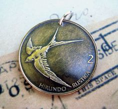Coin Jewelry BIRD COIN necklace - 1999 Slovenia Barn Swallow  -  Flying bird, sparrow, martin, passerine, swift. $10.95, via Etsy.-for Julie Bird Jewelry, Coin Jewelry, Jewelry Shop, Coin Crafts, Modern Tribe, Barn Swallow, Sparrow Bird, Copper Penny, Bronze Patina