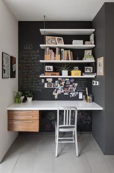 cool home office design. small home office idea with chalkboard walls [design: john donkin architect] ideas, design cool