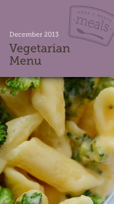 Vegetarian December 2013 Freezer Menu - A menu for making a month of meals in one day that are all #vegetarian.