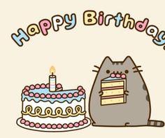 Pusheen the cat with birthday cake art
