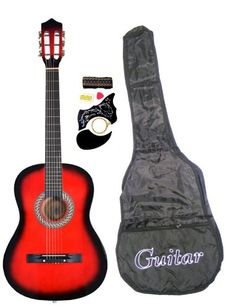 """38"""" RED Acoustic Guitar Starter Package, Guitar, Gig Bag, Strap, Pitch Pipe & DirectlyCheap(TM) Translucent Blue Medium Guitar Pick - http://www.learntab.com/guitar-deals/38-red-acoustic-guitar-starter-package-guitar-gig-bag-strap-pitch-pipe-directlycheaptm-translucent-blue-medium-guitar-pick/"""