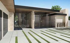 Fire Pit, Infinity Pool, Driveway Walkway, Patio & Deck, & Concrete Patio Decks - Modern Exterior By Bowery Design Group Modern Driveway, Driveway Paving, Driveway Design, Driveway Landscaping, Modern Landscaping, Driveway Ideas, Stone Driveway, Landscaping Contractors, Paver Walkway