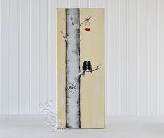 Original Canvas Painting / Love Birds on an Aspen Tree Branch / Birch Tree…