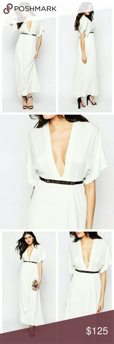 Twin Sister White Belted Plunge Front Maxi Dress NWTs. Off white poly/elastane stretchy fabric. Belt has goldtone hardware. UK SIZE 8/10 or US medium. Twin Sister Dresses Maxi