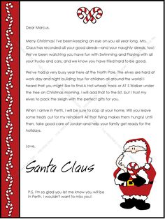 Free Templates For Letters Free Printable Santa Letter  Christmas  Pinterest  Free Printable .