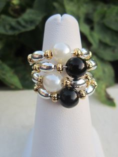 Memory Wire Wrapped Ring with White and Black by RAVCreations, $8.00