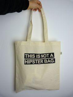 this is not a hipster bag organic cotton bag jute from ilovemixtapes by DaWanda.com