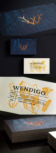 Business card ideas | Dark And Mysterious Copper Foiled Letterpress Business Card For A Film Studio