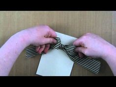 Excellent video tutorial on the basic bow and great tip on how to avoid fraying Card Making Tips, Card Making Techniques, Making Ideas, Bow Making, Ribbon Crafts, Ribbon Bows, Ribbons, Bow Tutorial, Card Tutorials