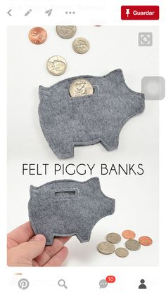 Felt piggy bank tips. Leuk om geld in cadeau te doen. Kids Crafts, Craft Projects, Arts And Crafts, Felt Projects, Project Ideas, Cool Crafts, Easy Felt Crafts, Children Projects, Crafts Cheap