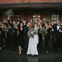Eucalyptus bouquets, all black outfits and brick walls. I know they're all over the place, but it's for a dang reason, people. Black Bridesmaids, Black Bridesmaid Dresses, Bride Dresses, Wedding Party Shirts, Wedding Party Dresses, Party Wedding, Black Bridal Parties, Black And White Wedding Theme, Maid Of Honor