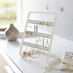 Look what I found on White Earring Stand by Yamazaki Jewelry Organizer Stand, Jewelry Tray, Jewelry Stand, Jewelry Holder, Jewellery Storage, Jewellery Display, Jewelry Organization, Home Organization, Jewellery Box