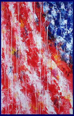 abstract painting palette knife huge american flag painting  XXL extra large 48x30