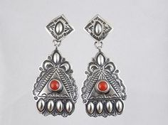 Handmade Sterling Silver Coral Earrings by Darryl Becenti for 218.00 | Native American Jewelry