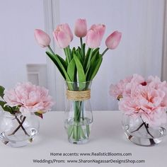 Waterlook floral arrangements with Real Touch silk/artificial tulips and peonies in pink blush color. www.realisticblooms.com