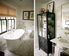 JACLYN PAIGE Freestanding tub, marble, black painted windows