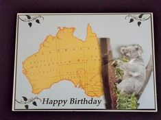 """Australia on Craftsuprint designed by Gail Collins - made by Margaret Gordon - A simple and unusual card - one for someone with Australian connections or, by changing the greeting, to wish someone off to work or travel """"down under"""", good luck. Here the main image has been added to an A5 card with ds tape and an suitable insert fixed in place by the same means. The decoupage pieces have been cut out, shaped and placed using foam pads. - Now available for download!"""