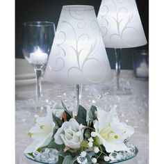 12 Centerpieces incl: Swirl Print Wine Glass Shades, Silk Flowers, White Battery LED Tea Lights WEDDING TABLE DECORATION Magic Lantern,http://www.amazon.com/dp/B00JXVVQRI/ref=cm_sw_r_pi_dp_QlRGtb1NK9Q3X30G