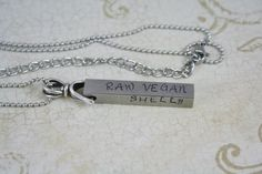 Vegan Jewelry, Personalized Hand Stamped Raw Vegan, 80-10-10,  Name, and Anniversary Necklace. 269 Vegetarian Plant Based Diet Men or Women
