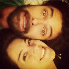 Aidan turner and Sarah Greene. Pinning bc he's so cute to take stupid selfies with her (not cause I ship)
