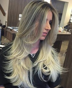 Long Layered Blonde Ombre Hair