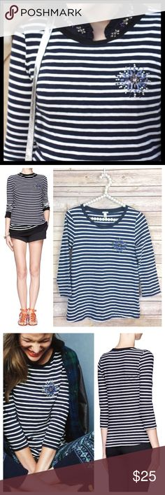 j. crew // jeweled brooch striped navy painter tee Spun from signature slub cotton jersey, our painter tees are famous for their heathery look and supersoft feel. We added hand-applied jewels so you can skip the necklace. Cotton. 3/4 length sleeves. Great condition, no missing jewels. J. Crew Tops Tees - Long Sleeve