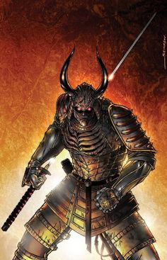 Concept pic for an upcoming movie pitch. samurai concept art pin up Oni Samurai, Fantasy Samurai, Samurai Concept, Samurai Warrior, Armor Concept, Fantasy Armor, Medieval Fantasy, Dark Fantasy, Concept Art