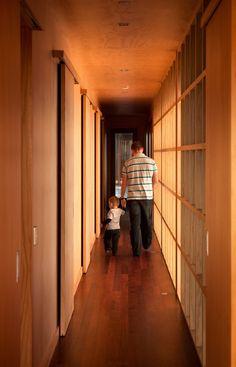 all wood corridor. minimally visible hardware & fixtures.