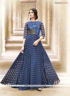Blue Satin Embroidered Work Designer Gown