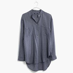 Madewell+-+Collarless+Popover+Shirt+in+Abilene+Plaid
