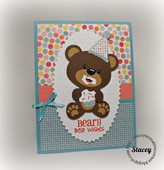 Card made by Stacey of Stacey's Creative Corner for the Joy's Life Design Team. Greeting came from the Punny Animals Joy's Life Stamp Set. http://joyslife.com/products/products.html