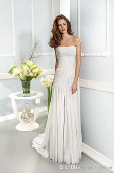 Wholesale Wedding Dresses - Buy Simple Style Chiffon Birdal Party Dresses Seath Pleats Strapless Sleeveless Sweep Train Zipper Women Wedding Prom Dresses 2015 HOT Custom, $29.38 | DHgate.com