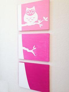 Owl Ombre Canvas Art (Choose your colors!)  www.ADapperDuck.com
