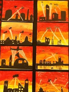 Art World War 2 Display, Remembrance Day Art, Ww1 Art, Primary School Art, History Activities, Silhouette Art, World War One, Teaching Art, Year 6